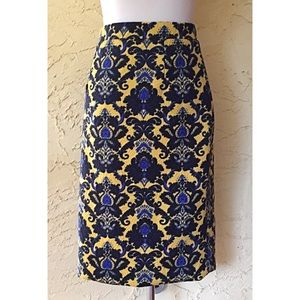 NWOT Brixon Ivy yellow and blue pencil knit skirt